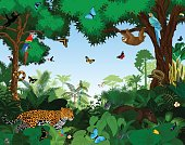 Rainforest with animals vector illustration. Vector Green Tropical Forest jungle with parrots, jaguar, tapir, sloth, anaconda and butterflies.