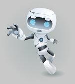 Raise drag grab hand mascot robot innovation technology science fiction future cute little Icon artificial 3d Intelligence design vector illustration