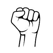 Raised Fist on White Background. Vector illustration