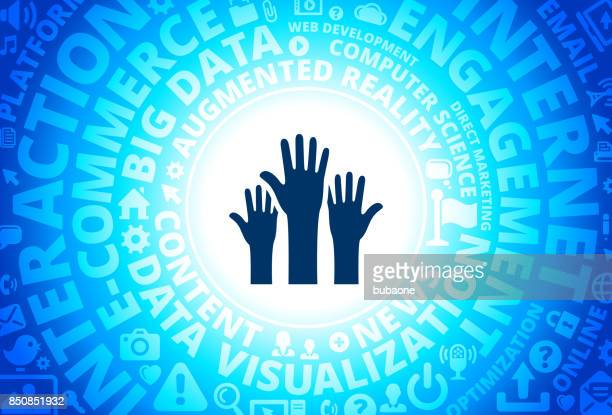 Raised Hands Icon on Internet Modern Technology Words Background