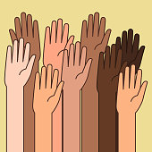 A vector illustration of Raised Hands for Volunteering Concept