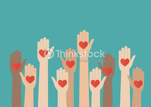 Raised hands volunteering : stock vector
