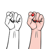 Raised women s fist closeup isolated on white background - symbol unity or solidarity, with oppressed people and women s rights. Feminism, protest, rebel, revolution or strike sign. Template for art p
