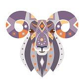 Ram Head icon. Goat Vector decorative Emblem