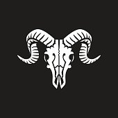 Ram skull sign or icon white on black