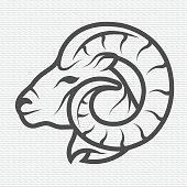 Ram symbol logo emblem Contour Design. Vector illustration.