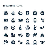 Simple bold vector icons related to islam and ramadan. Symbols such as charity and other islamic and ramadan related activity are included in this set. Editable vector, still looks perfect in small si