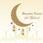 Ramadan greeting card with moon and arabic lamps. Vector.
