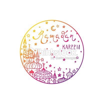 ramadan kareem vector round sticker hand drawn crescent moon mosques