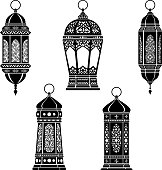 Ramadan Lantern Symbol Monochrome Background Vector Illustration