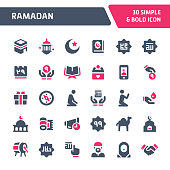 30 Editable vector icons related to islam & ramadan. Symbols such as charity and other islamic/ramadan related activity are included in this set. Still looks perfect in small size.