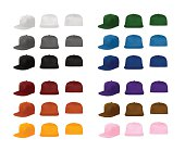 Flat bill urban cap templates set, vector eps10 illustration. Easy to select any part and recolor.