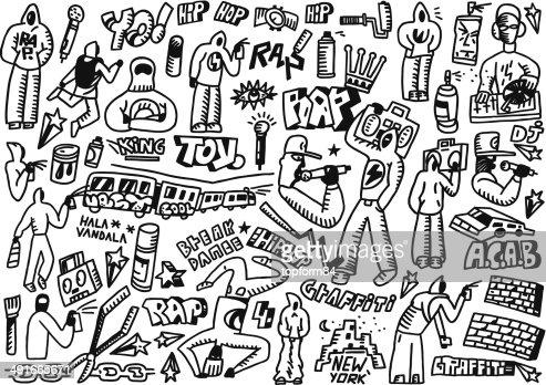 Rap E Hip Hop E Dai Graffitiset Di Disegni E Schizzi Arte Vettoriale