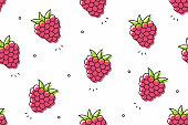 Seamless raspberries pattern. Vector fruit background
