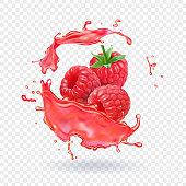 Raspberry juice Fresh fruit splash Vector illustration.