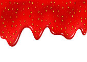 Raspberry  or strawberry dripping sweet jam on white background.  Realistic 3d vector flowing delicious  syrup.