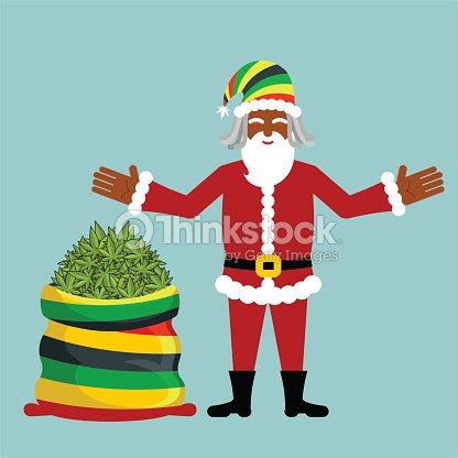 rasta santa claus wishes big santas sack hemp vector art thinkstock