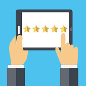 Rating on customer service concept. Website rating feedback and review concept. Flat vector illustration