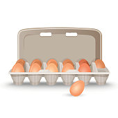 Raw eggs in shell inside simple cardboard box ready for sale isolated cartoon flat vector illustration on white background. Healthy natural food product.