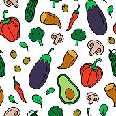 Raw vegetables seamless pattern. Healthy food hand drawn vector illustration. Organic nutrition concept. Eggplant, red pepper, mushrooms, cucumber, olives, spinach, broccoli.