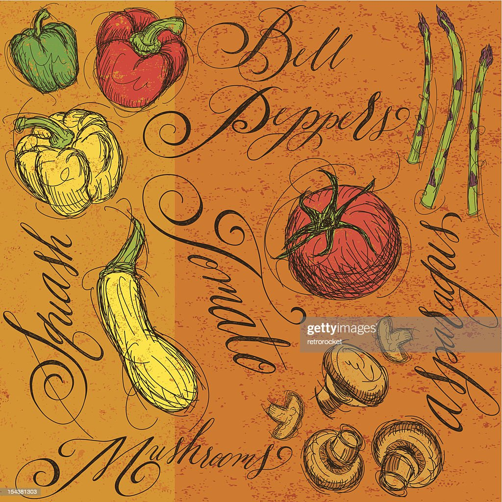 Raw vegetables with calligraphy : Vector Art