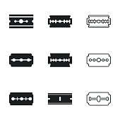 Razor vector icons. Simple illustration set of 9 razor elements, editable icons, can be used in logo, UI and web design