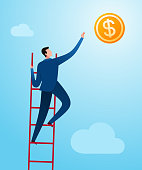 Climbing a ladder to reach business success. Business concept illustration.