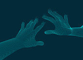 graphic of two dotted hand reaching to each other, concept of virtual reality technology