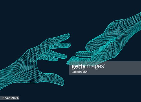Reaching Wireframe : stock vector