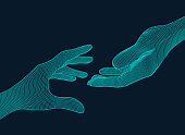blue wireframe hands reaching to each other