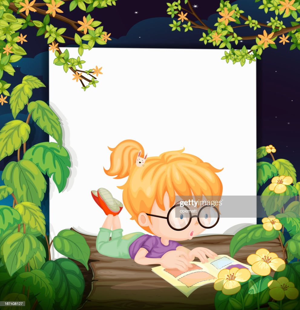 Reading girl : Vector Art