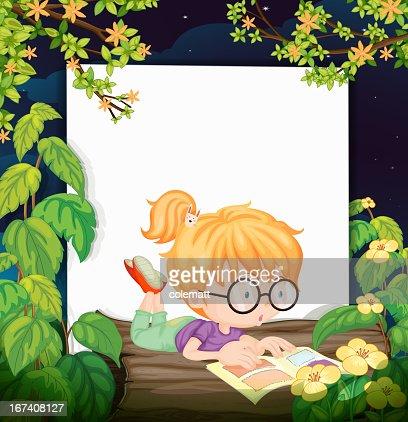 Reading girl : Vector Art