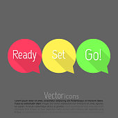 Ready, set, go icons on grey background