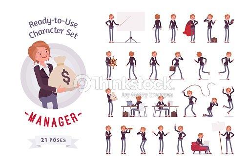 使える - 女性マネージャー文字セット、様々 なポーズ、感情 : ベクトルアート