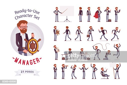 Ready-to-use male manager character set, different poses and emotions : Vector Art