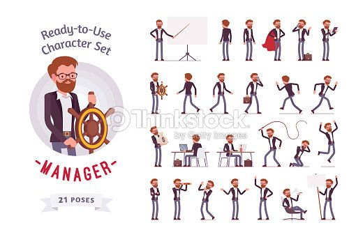 Ready-to-use male manager character set, different poses and emotions : stock vector
