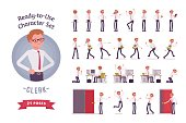 Ready-to-use character set. Male office clerk in formal wear. Different poses and emotions, running, standing, sitting, walking, happy, angry. Full length, front, rear view isolated, white background