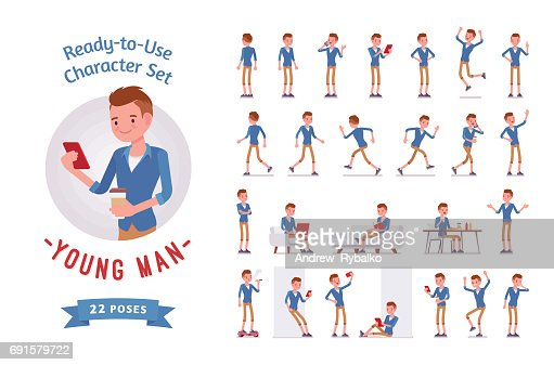 Ready-to-use young man character set, various poses and emotions : stock vector