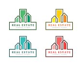 Creative real estate concept with house and building in line art. Colorful set and abstract design.