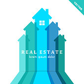 Abstract real estate and development concept with house and arrow design