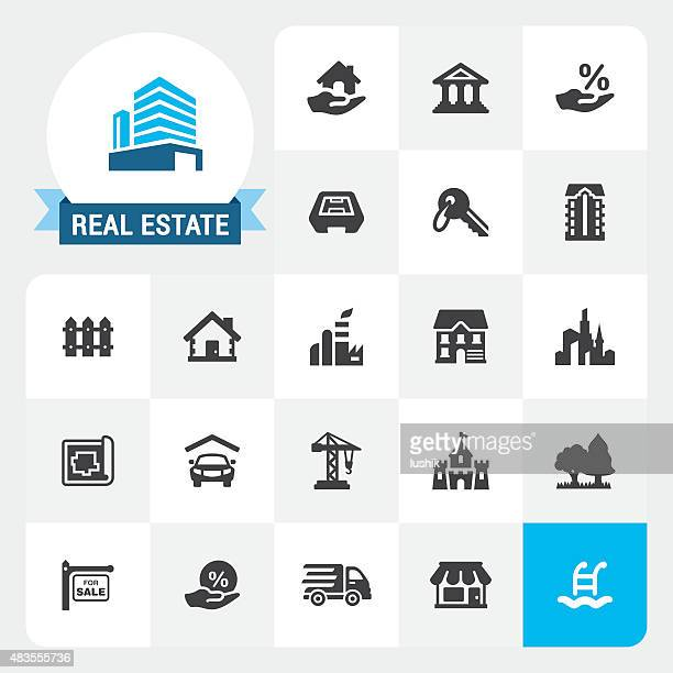 Real Estate base vector icons and label
