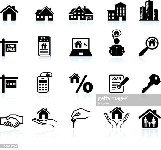 real estate black & white royalty free vector icon set