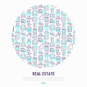 Real estate concept in circle with thin line icons: apartment house, bedroom, keys, elevator, swimming pool, bathroom, facilities. Modern vector illustration for web page, print media.