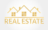 Real estate gold . House icon in line style. Creative  design. Real estate agency template. Vector illustration.