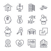 Real estate icon suitable for info graphics, websites and print media skyscaper, garage, city, bilding and other. Vector, flat icon, clip art. Icons set with editable stroke. EPS 10