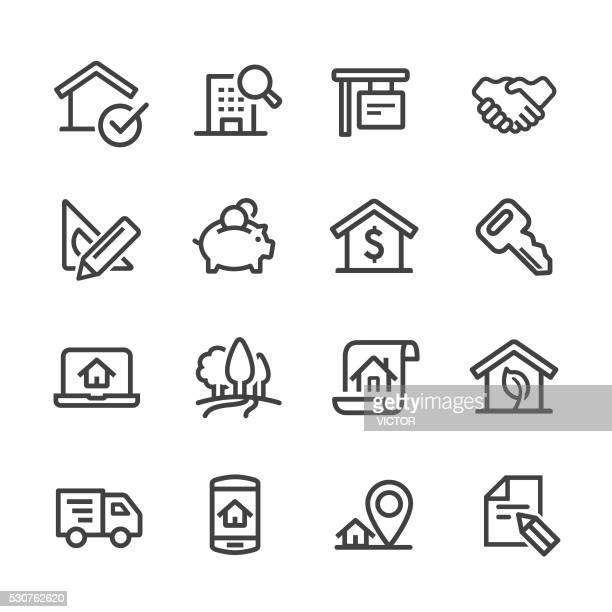 Íconos de inmobiliaria de línea serie