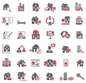 Set of 36 real estate icons in black and red color isolated on white background, vector EPS 10.