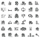 Set of 36 real estate icons isolated on white background, vector EPS 10.