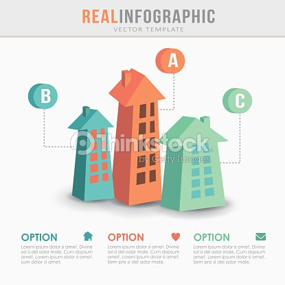 real estate infographic template flat design vector vector art