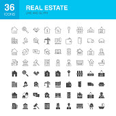 Real Estate Line Web Glyph Icons. Vector Illustration of Business Outline and Solid Symbols.